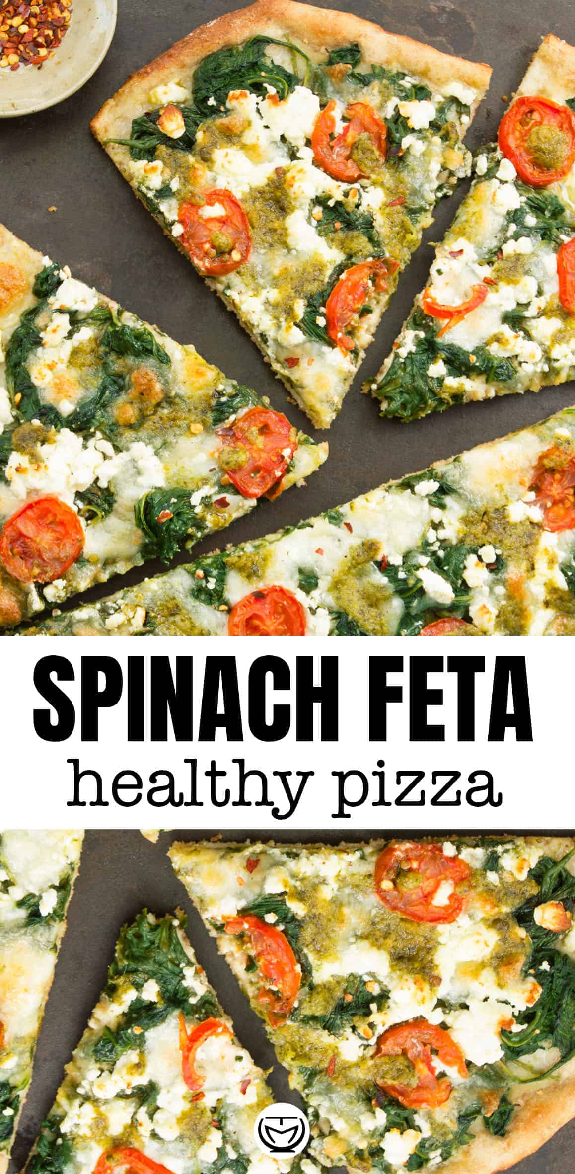 Easy and delicious homemade spinach pizza with feta and pesto.