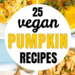 Four vegan pumpkin recipes including two pasta dishes, a soup and a cake.