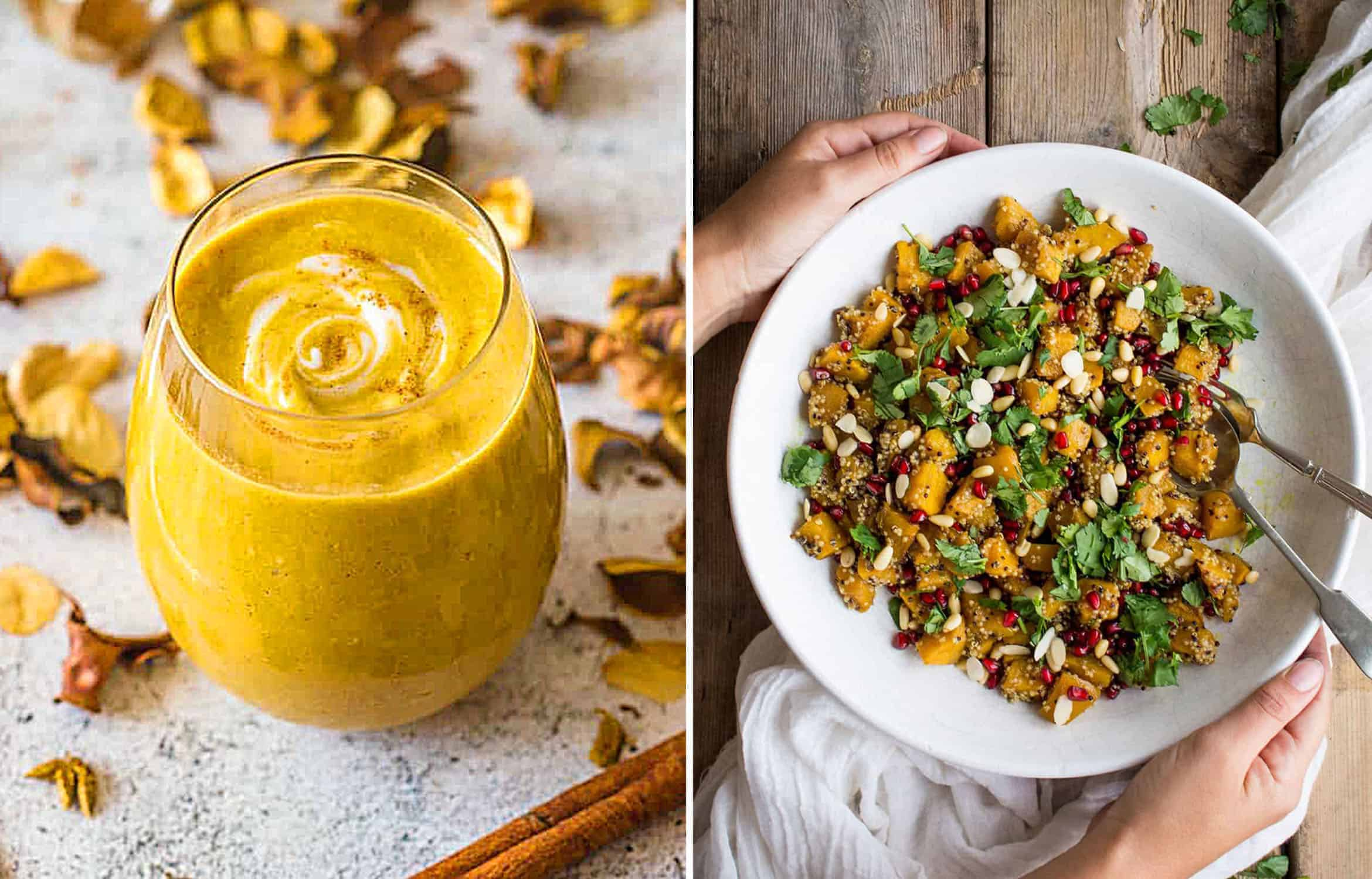 PUMPKIN PIE SMOOTHY in a glass - That Girl Cooks Healthy and PUMPKIN QUINOA SALAD in a white plate - A Baking Journey