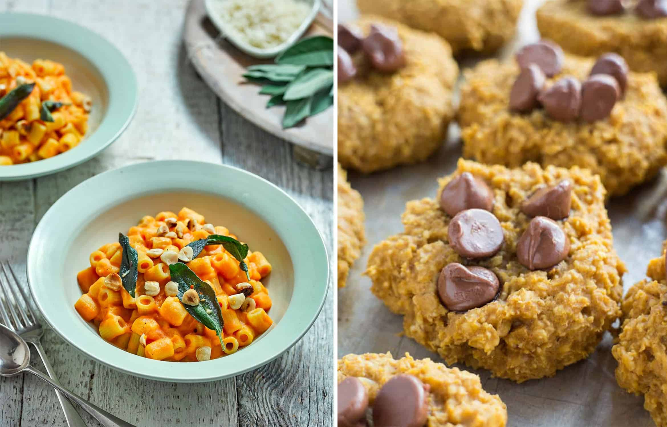 Two turquoise bowls with PUMPKIN MACARONI - Attachment Mummy and PUMPKIN COOKIES with chocolate chips - Brooklyn Farm Girl