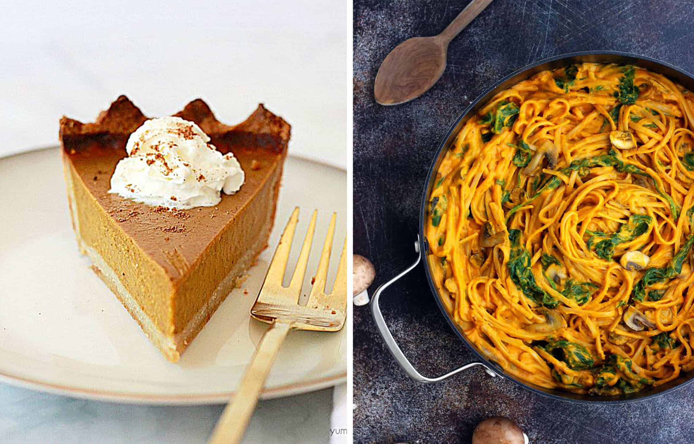 A slice of vegan pumpkin pie on a white plate - Yummy Yummy Kitchen and Pumpkin linguine with spinach over a dark background - Happy Kitchen