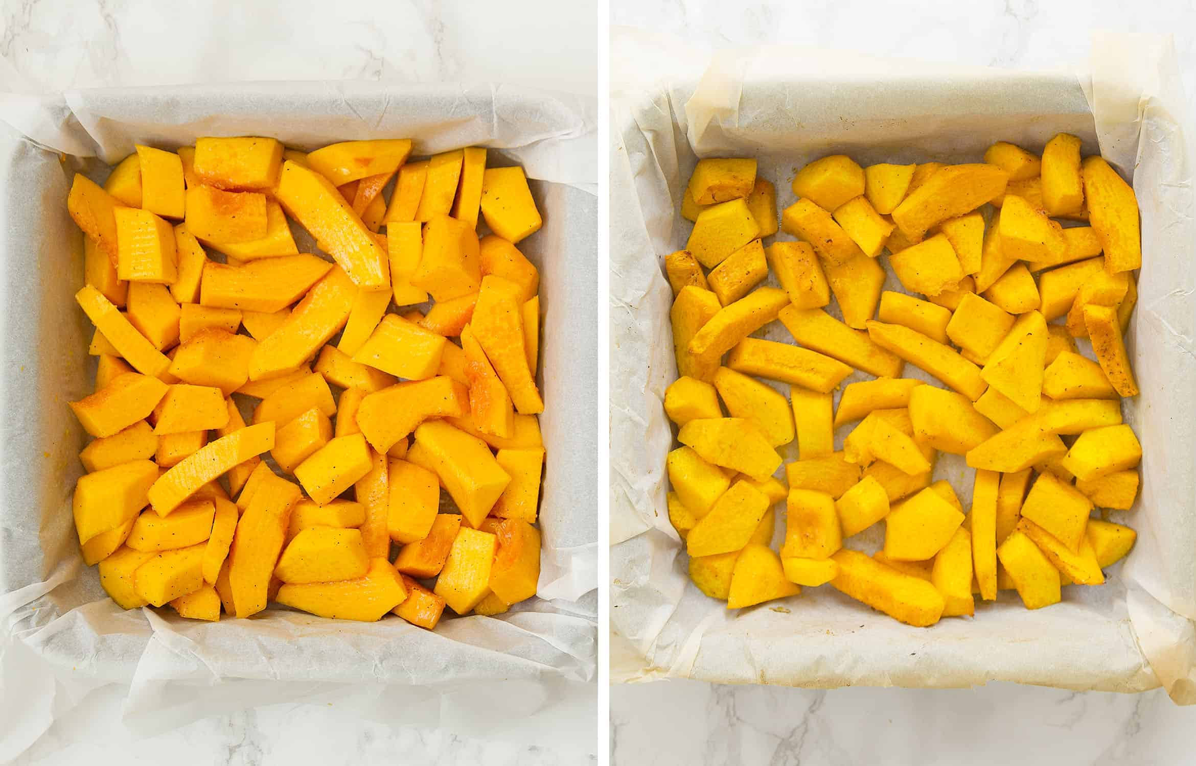 A squared baking pan full of slices of pumpkin.
