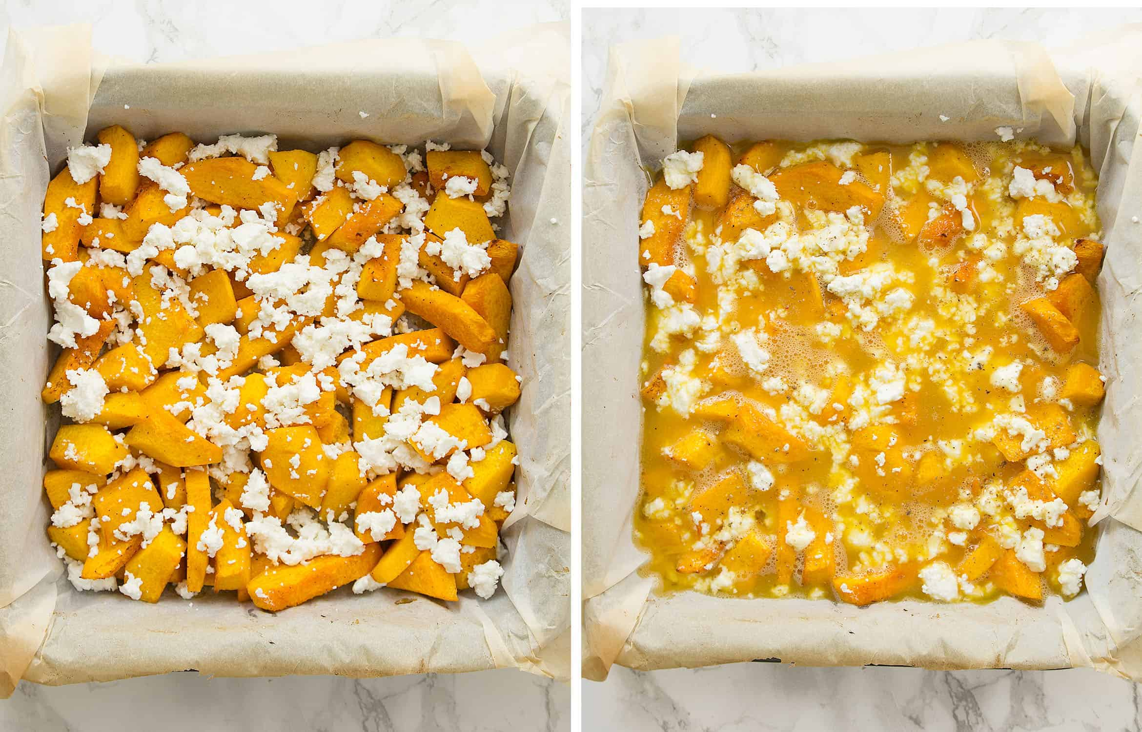 A squared baking pan full of roasted pumpkin sliced and feta.