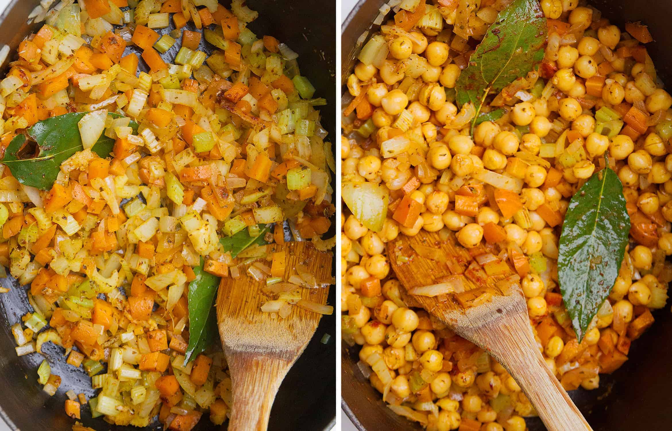 Diced vegetables and chickpeas stirred with a wooden spoon in a black casserole.