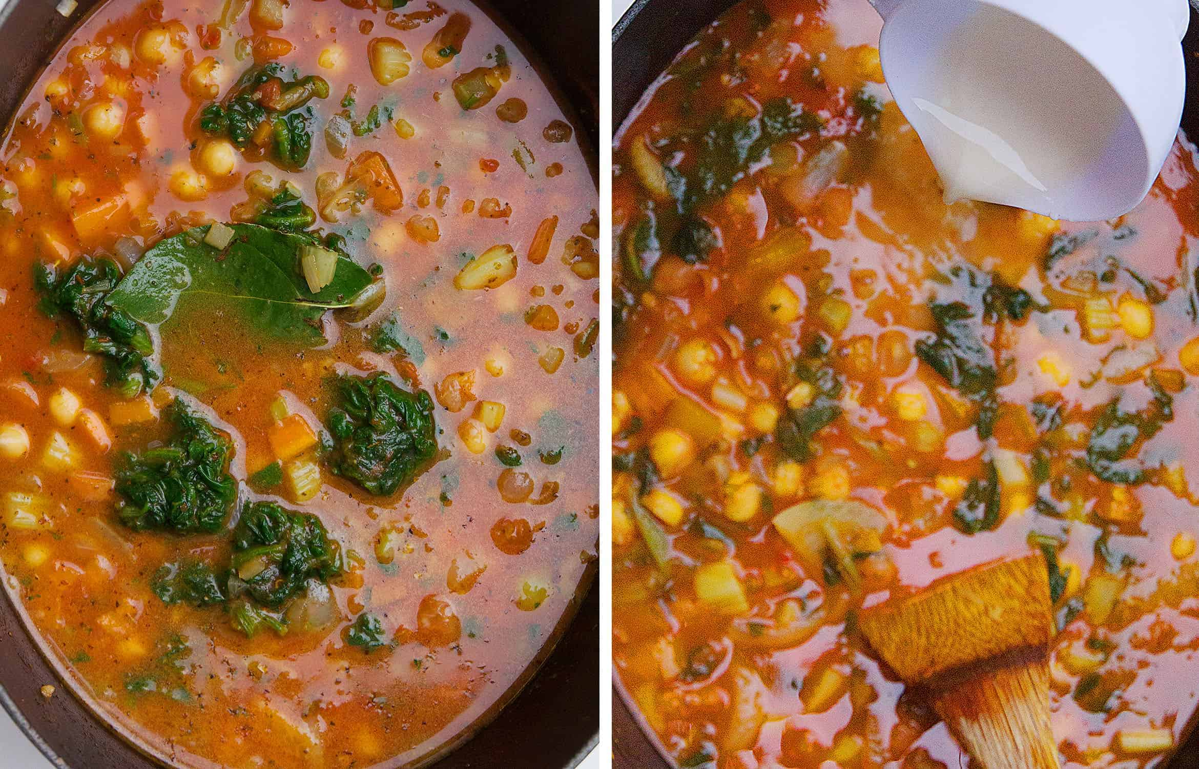 Mediterranean chickpea soup with broth and spinach in a black casserole.
