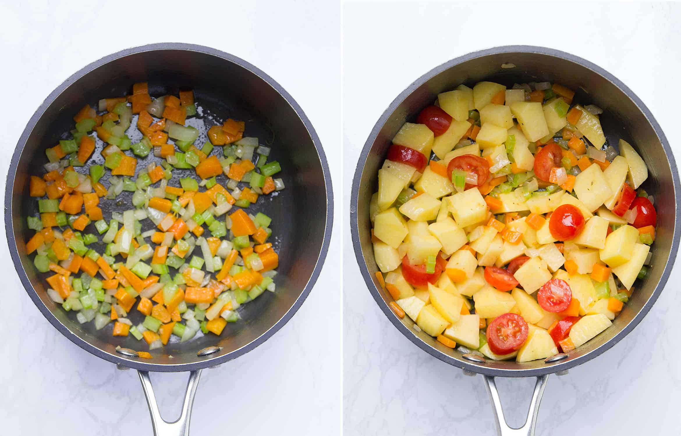 Diced vegetable in a black pan and the addition of tomatoes and potatoes to the same pan.