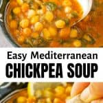 A close-up of a bowl full of Mediterranean chickpea soup.