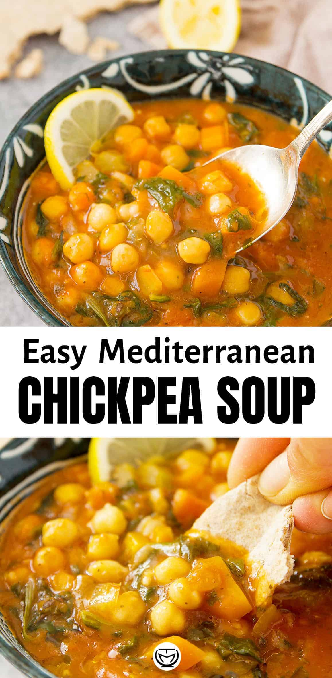 This delicious and hearty Mediterranean chickpea soup is made with cheap cupboard essentials and frozen spinach. A healthy and flavoursome meal ready in no time!