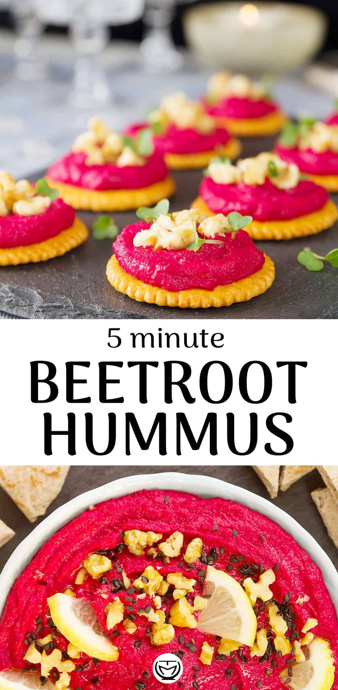 Delicious vegan beetroot hummus perfect for your next dinner party!