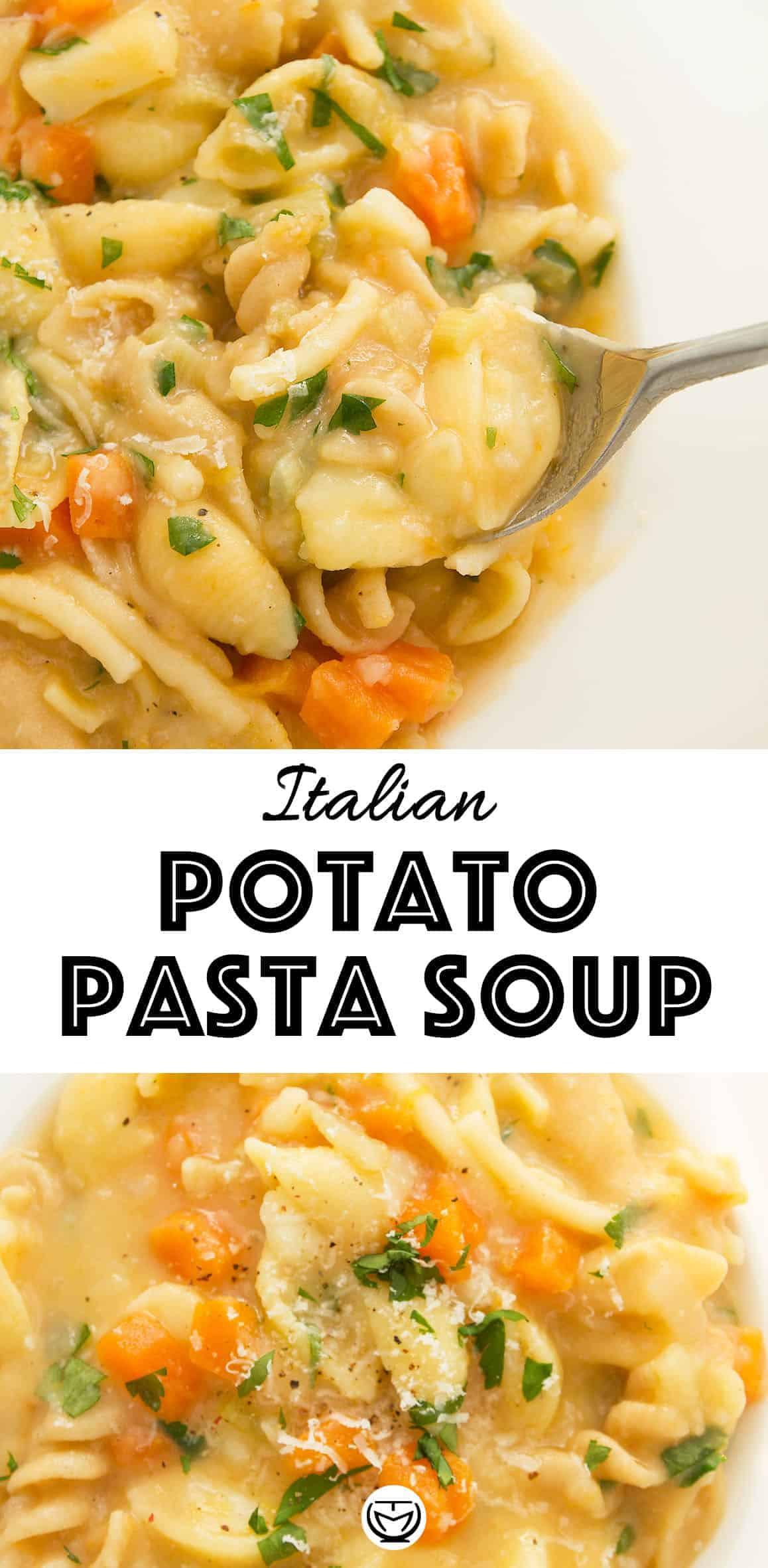 Carbs + carbs? Yes, this is comfort food and you're gonna love this soupy potato pasta! It's packed with delicious flavor, creamy texture, but this is also an easy and cheap midweek lifesaver and makes a quick family dinner in no time. #pastarecipes #vegetarianrecipes #potatorecipes #cheapmeals #cheapdinners #easydinnerrecipes