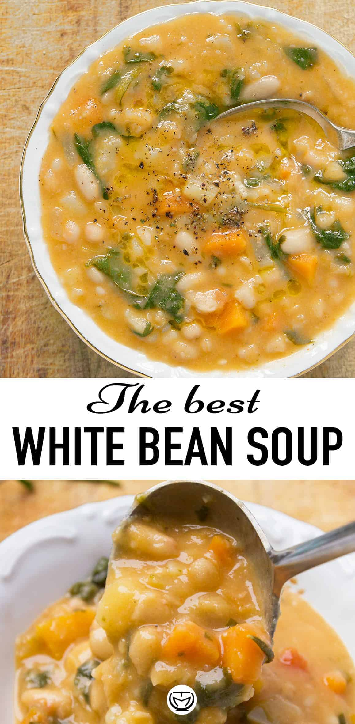 This delicious, creamy and vegan white bean soup tastes and smells amazing, it's budget-friendly and ready in 25 minutes! #veganrecipes #souprecipes #cannellinibeanrecipes #healthydinnerrecipes #cheapmeals