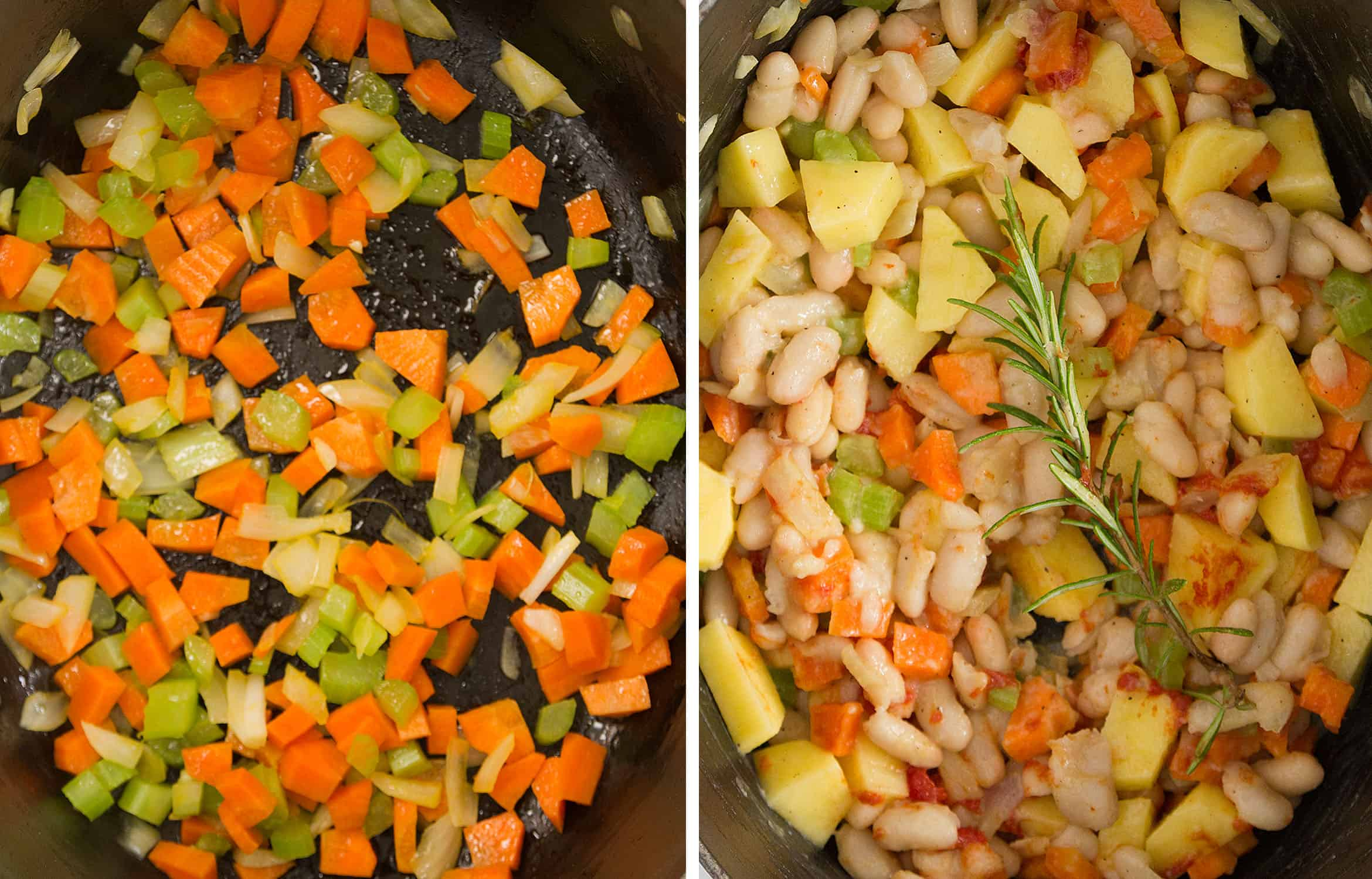Diced vegetables, beans and a sprig of rosemary in a black cast iron casserole.