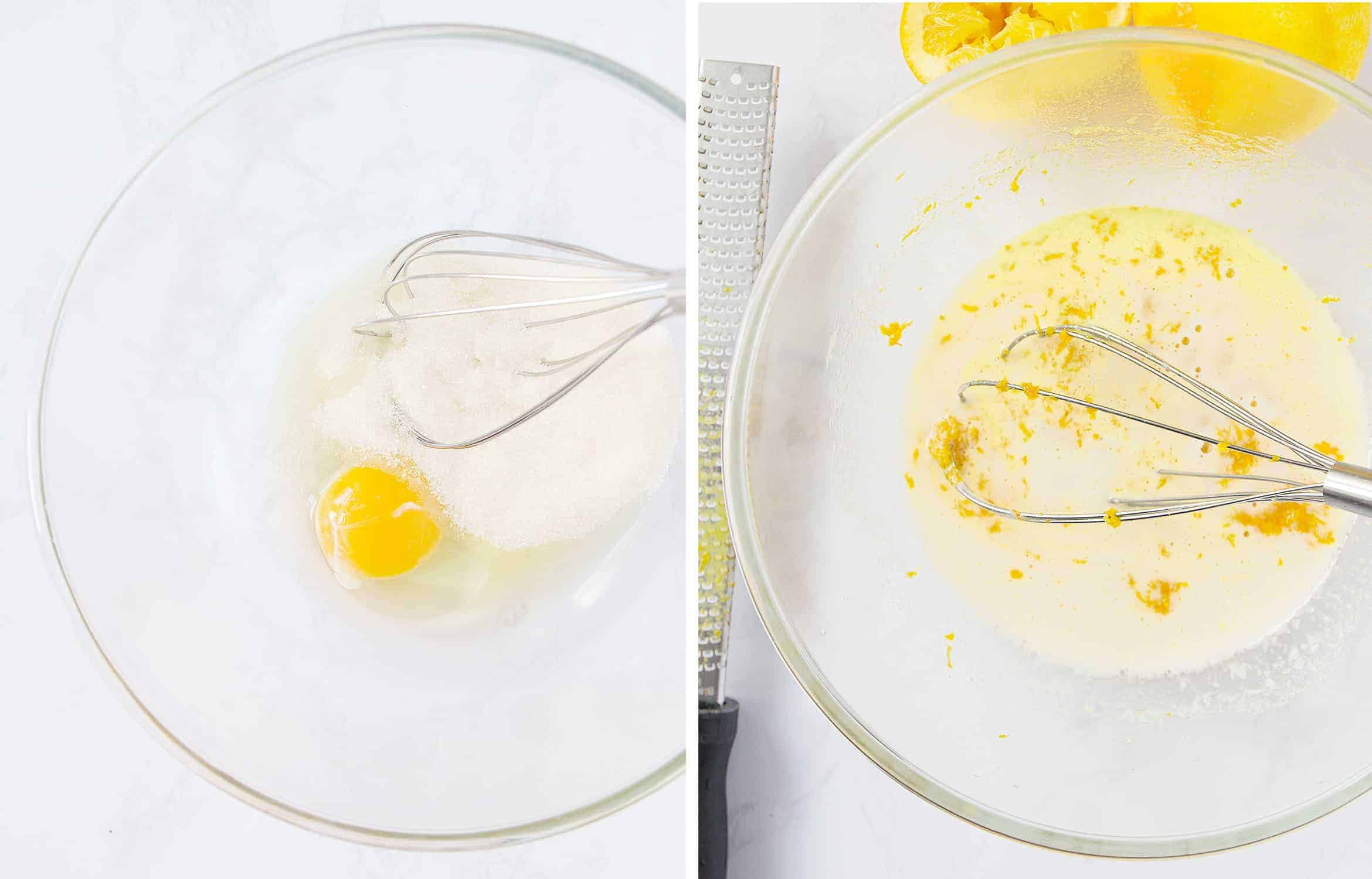 Mix egg and sugar, then add oil, vanilla, orange zest and juice.