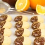 These beautiful orange cookies are made using orange juice and zest and dark chocolate.