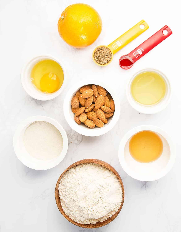 Ingredients to make almond biscotti.