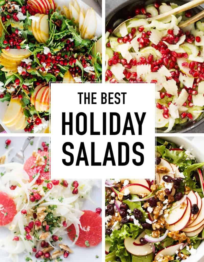 Four close-ups of different colorful holiday salads.