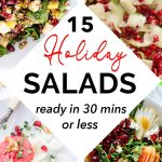 Four close-ups of different holiday salads.