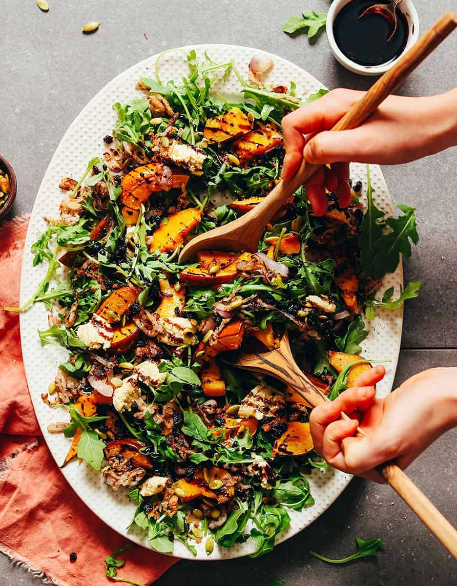 15 Amazing holiday salads: ROASTED SQUASH SALAD WITH CRISPY SHALLOT AND BALSAMIC REDUCTION by Minimalist Baker