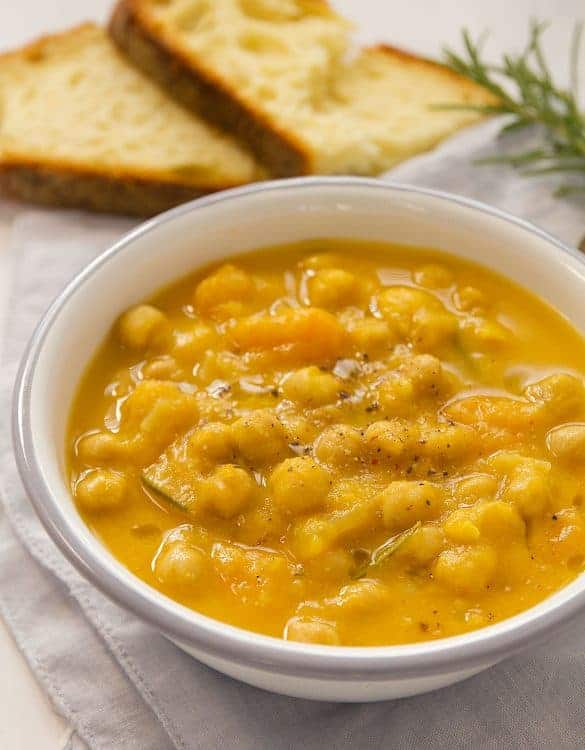 This thick and creamy chickpea soup with butternut squash is quick to make, healthy,freezes brilliantly, and the only thing it needs is hot crusty bread for dunking!