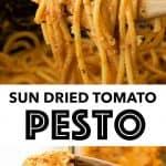 A close-up of a spoonful of sun-dried tomato pesto with spaghetti.