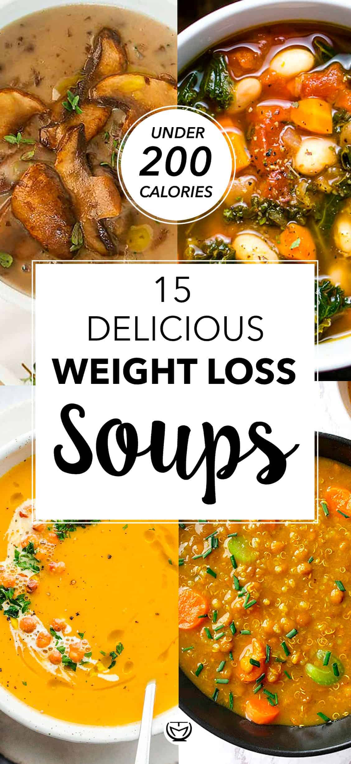 These delicious weight loss soups are a must for everyone after having indulged in the rich festive food. They're warming, vegetarian, hearty and tadadaaa... They contain <strong>LESS THAN 200 CALORIES PER SERVING! #souprecipes #healthyrecipes #weightlossmeals #lowcalorierecipes #lowcaloriemeals #lowcaloriedinners