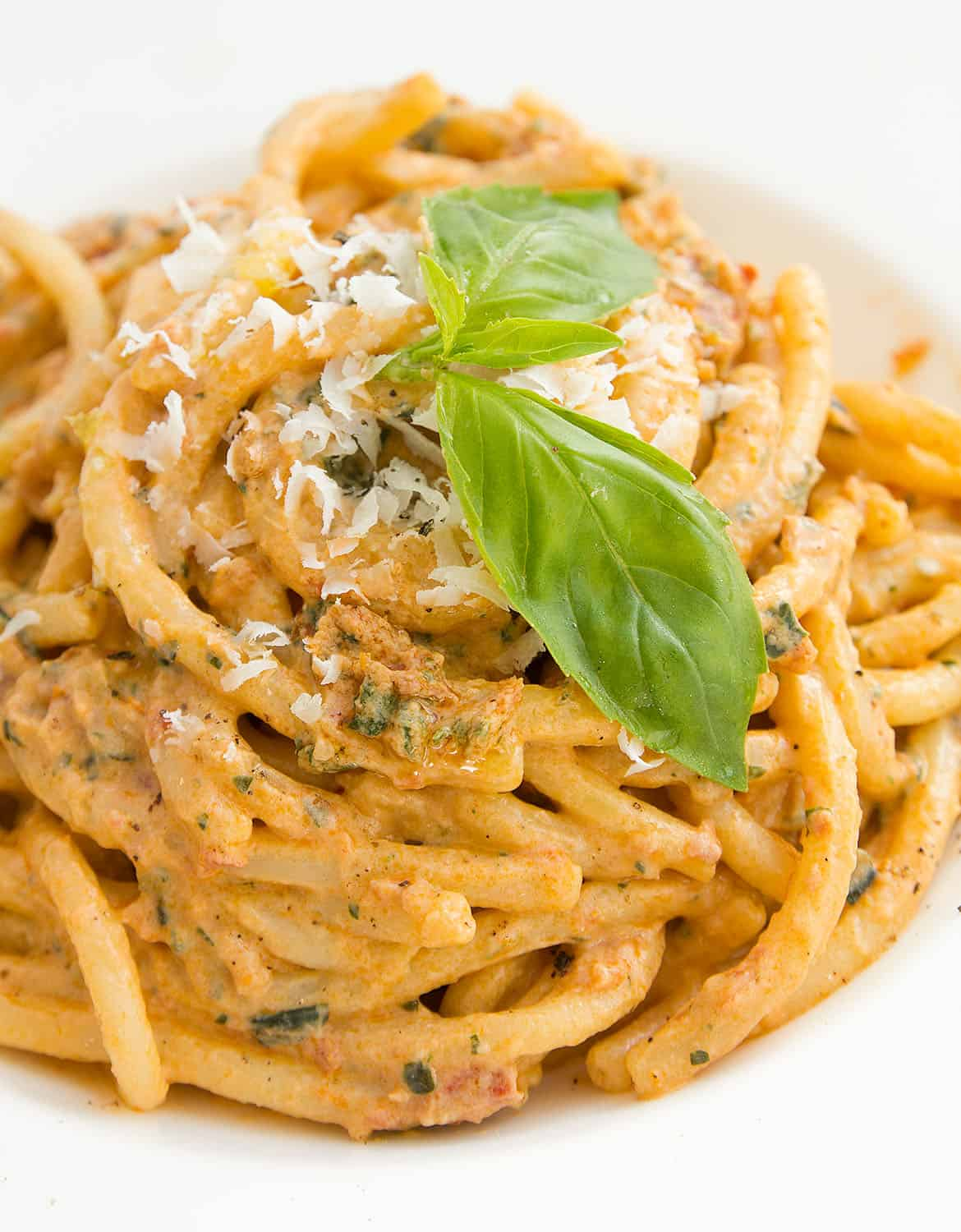 Sun dried tomato pesto pasta in a white plate with green basil leaves.