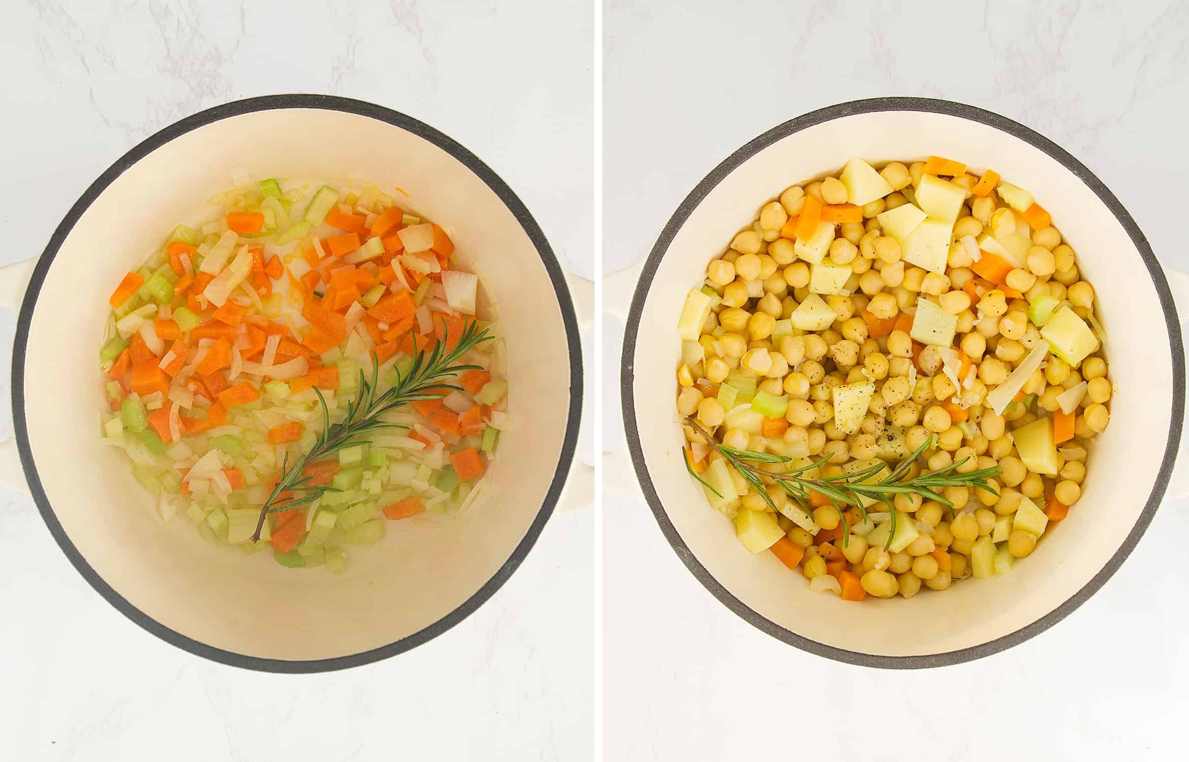 The first image shows diced vegetables in a white pot. The second image shows the addition of chickpeas.
