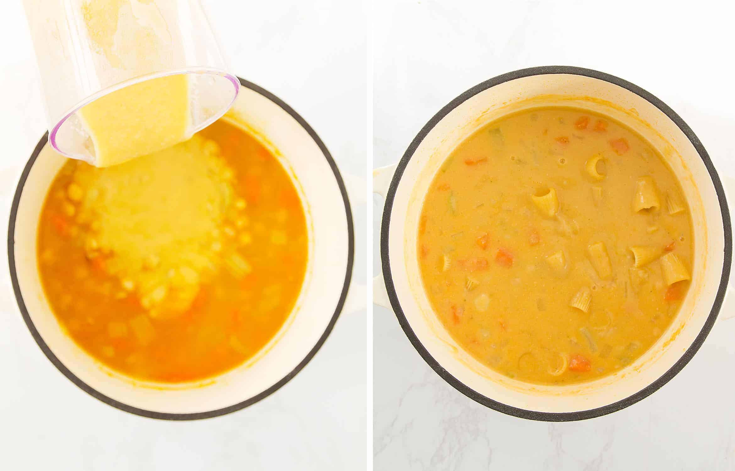 The first image shows the addition of blended soup to the pot. The second image shows the addition of pasta.