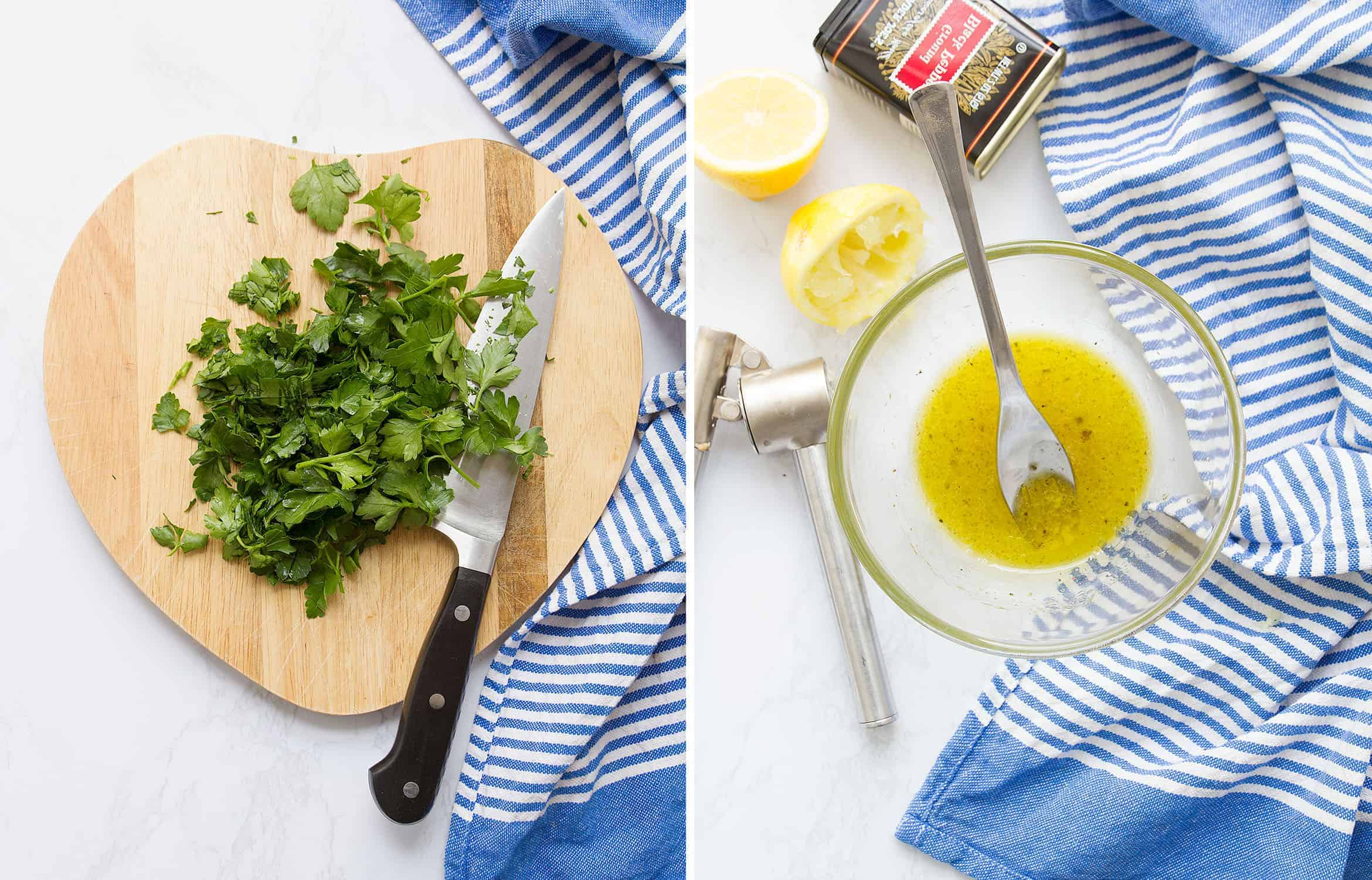 The first image shows parsley on a chopping board. The second one shows the lemon dressing in a glass bowl.