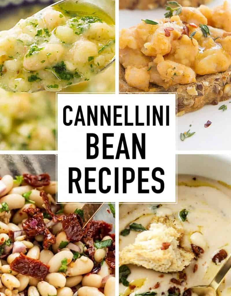 Four images showing 4 differente cannellini bean recipes.
