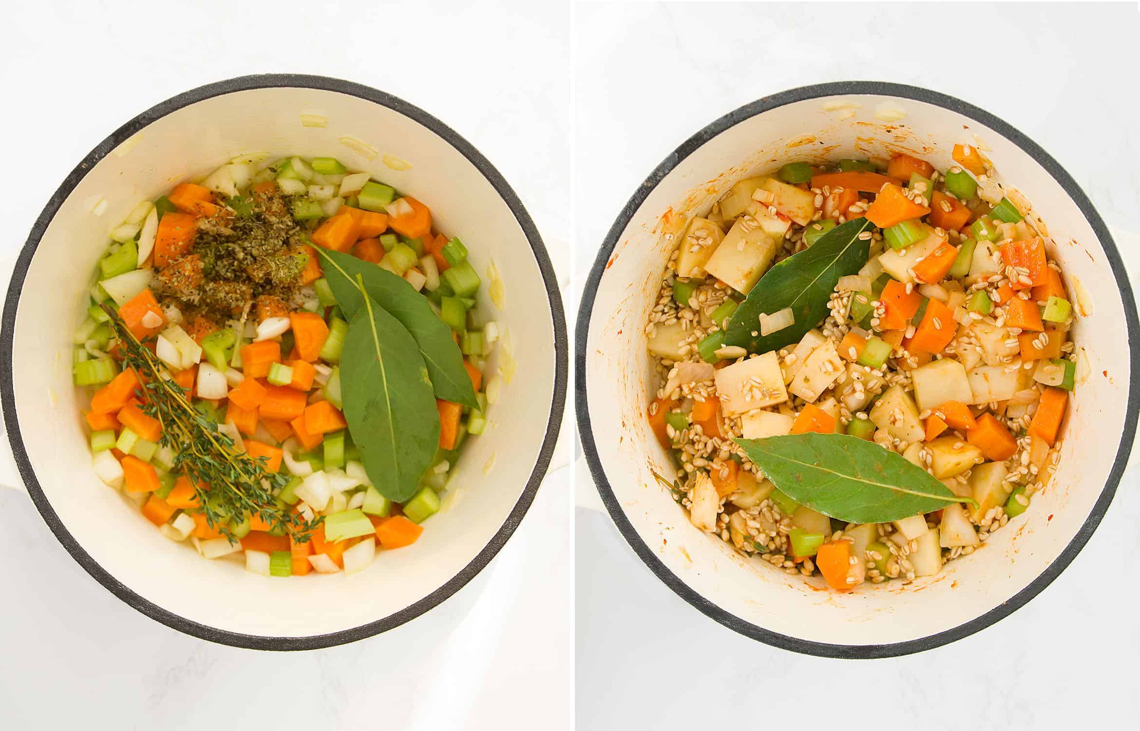 The first image shows diced vegetables and herbs in pot. The second one shows the addition of barley.