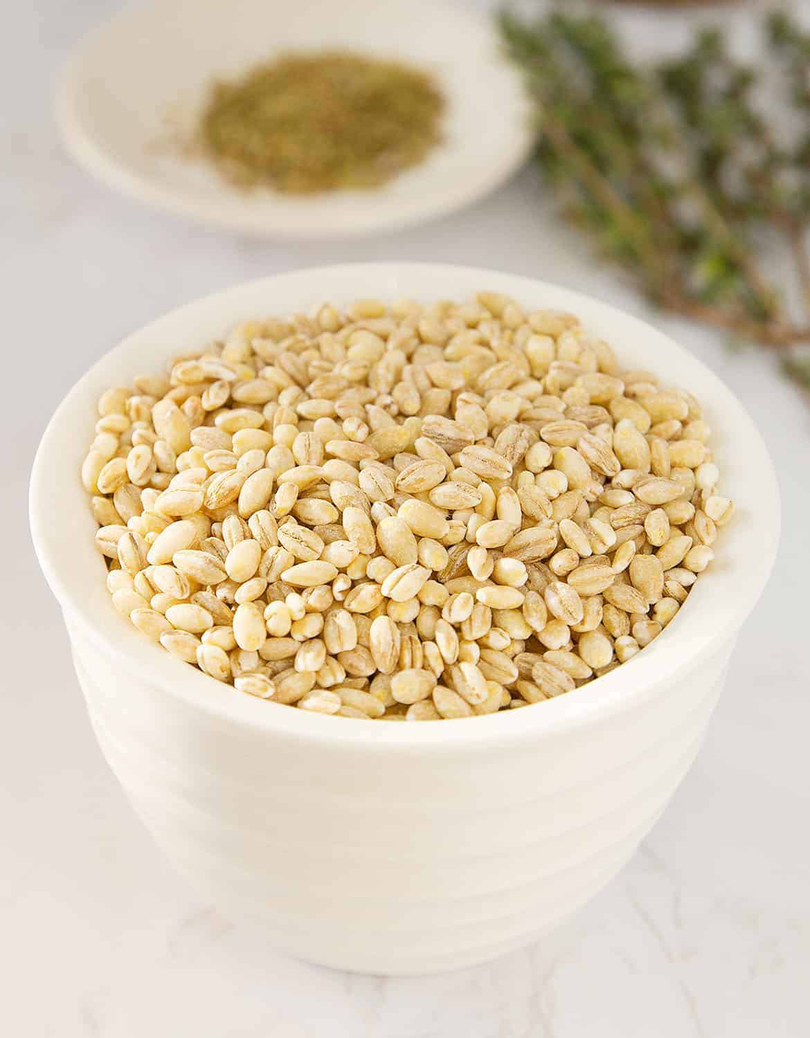 Uncooked barley in a small white bowl.