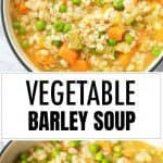 A soup full of vegetable barley soup with a spoon.
