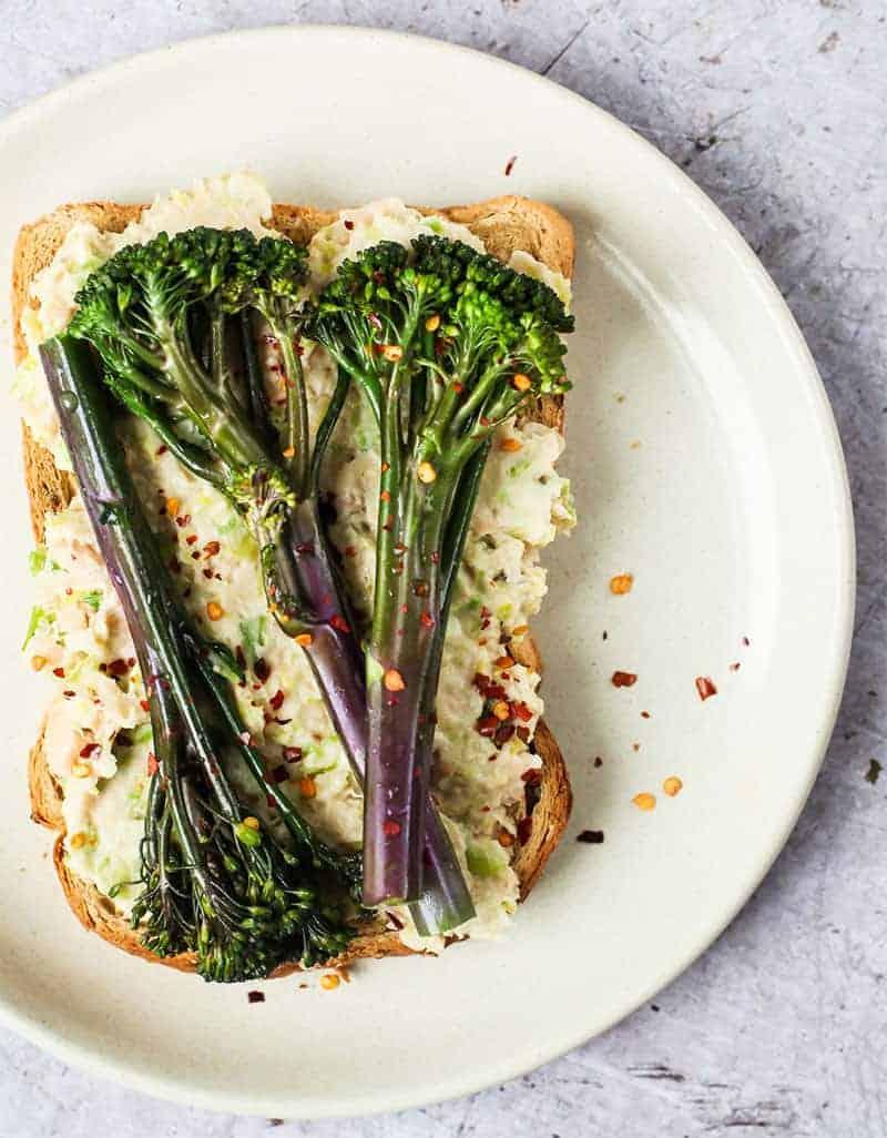 Tenderstem broccoli and white bean mush on a toast - Wallflower Kitchen