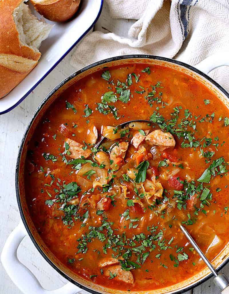 CANNELLINI BEAN RECIPES: FARMHOUSE CABBAGE SOUP WITH CANNELLINI BEANS AND KIELBASA by From A Chef Kitchen