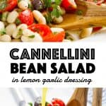 Cannellini bean salad with cherry tomatoes, black olives and fresh parsley.