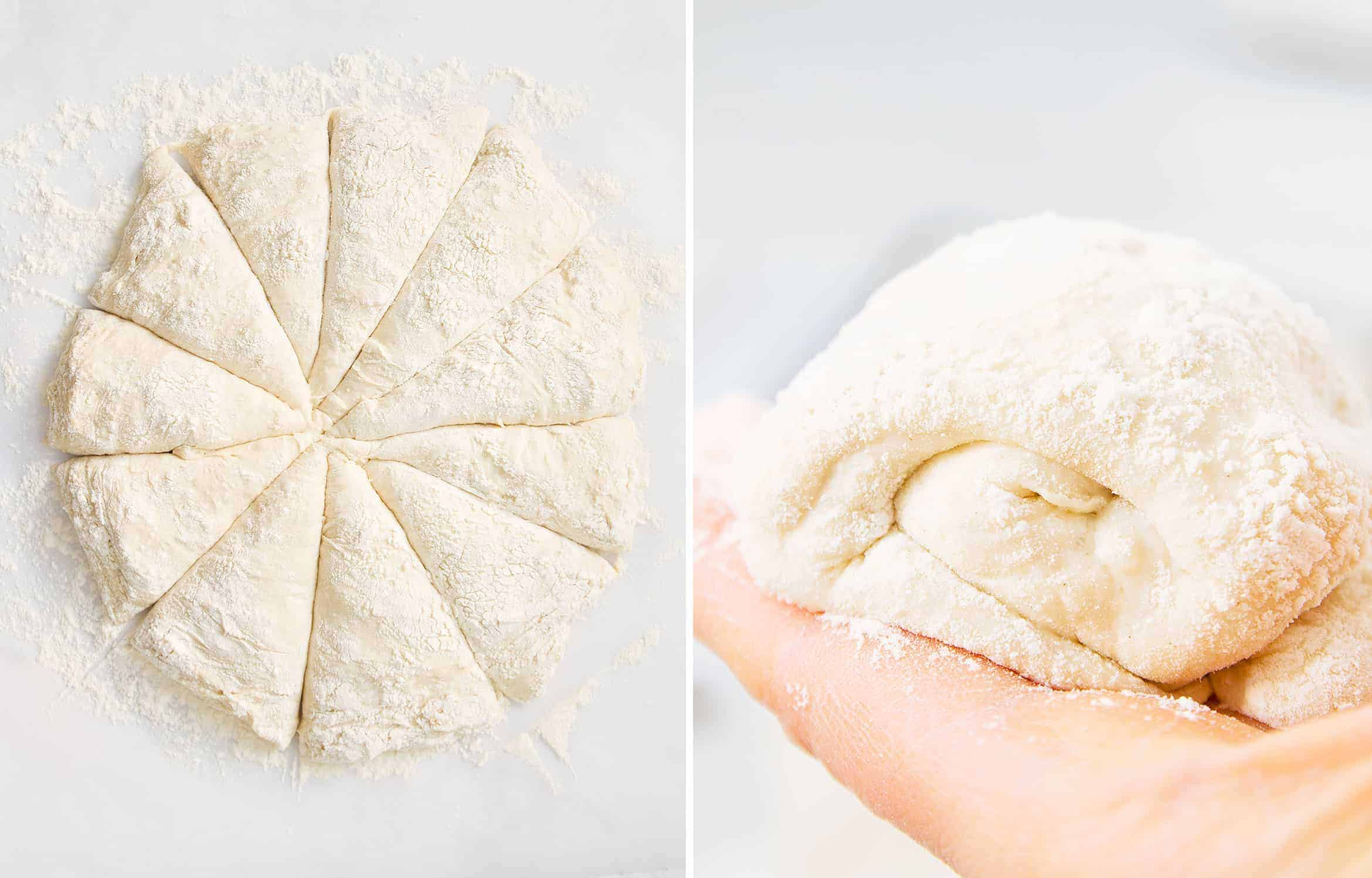 How to make panini bread: cut the dough into 10 portions, then roll out each portion.