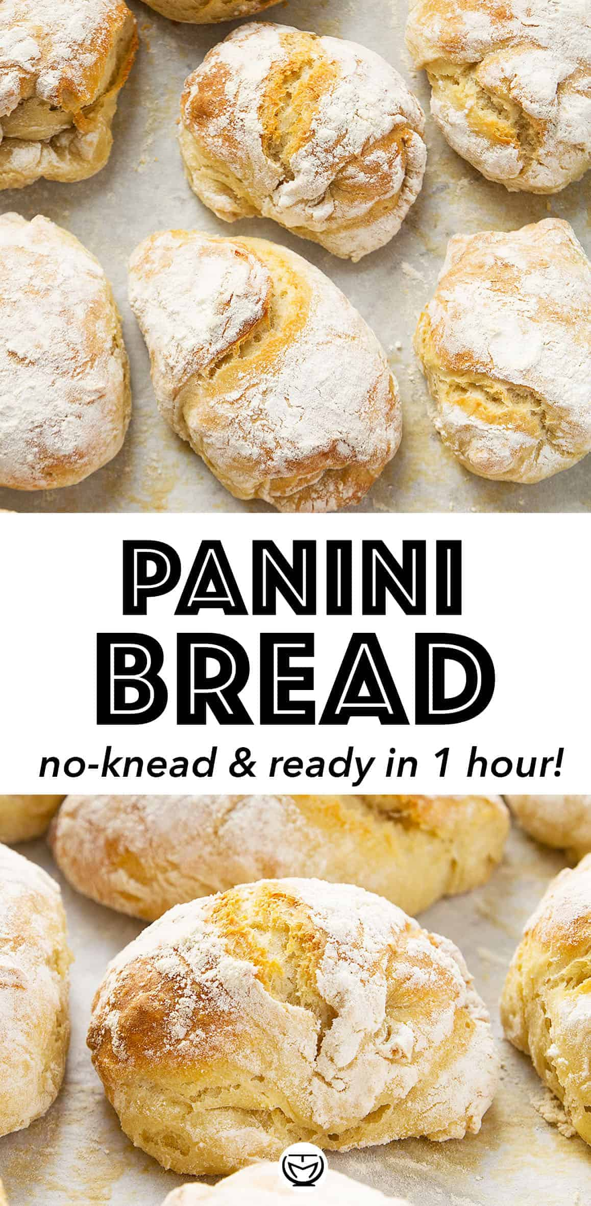 These amazing and super easy panini bread will make your kitchen smell like an Italian bakery! It's crusty, delicious, no-knead and ready in 1 HOUR flat! #breadrecipes #breadrecipehomemade #paninirecipes