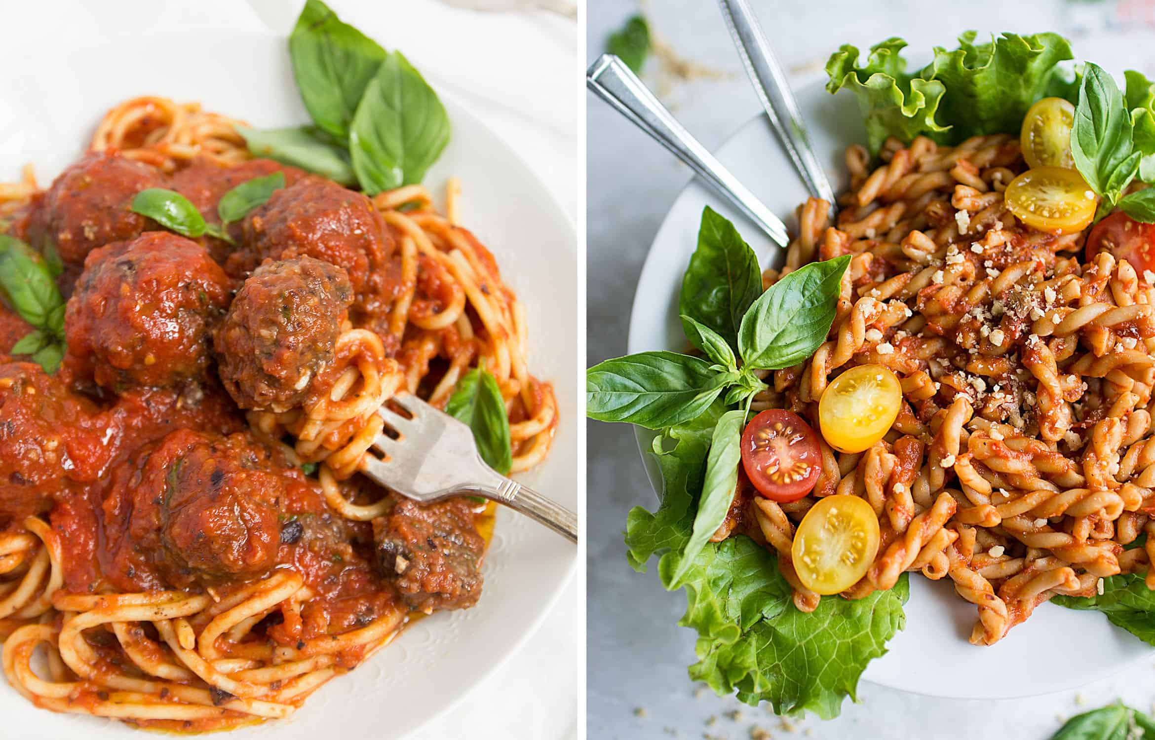 Spaghetti with vegan meatballs in tomato sauce on a white plate by The Clever Meal and Pepper pasta sauce with basil leaves by Lauren Caris Cooks