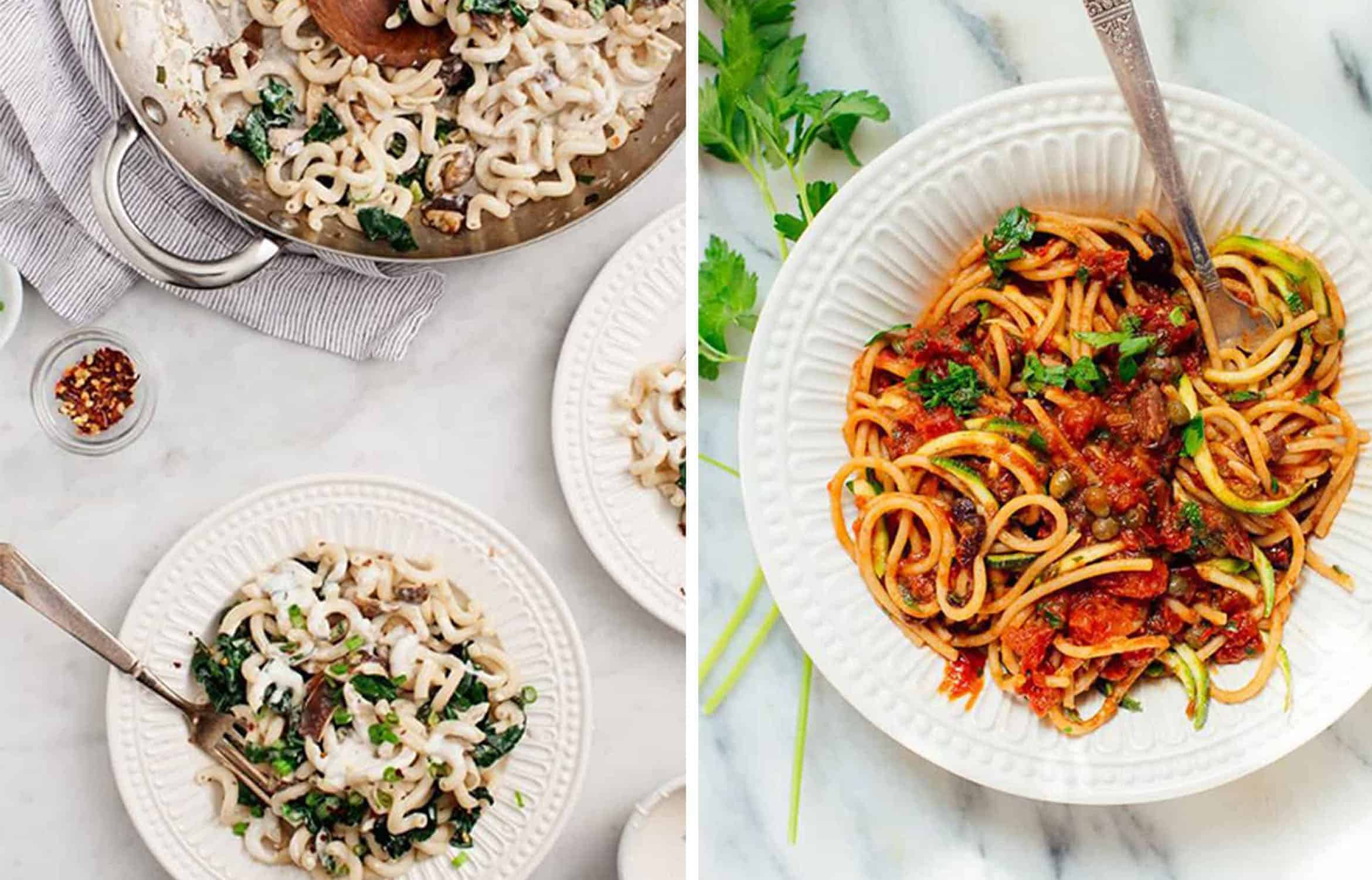A skillet and a white plate with shitake and kale pasta by Love and Lemons and Vegan spaghetti alla puttanesca on a white plate by Cookie and Katie
