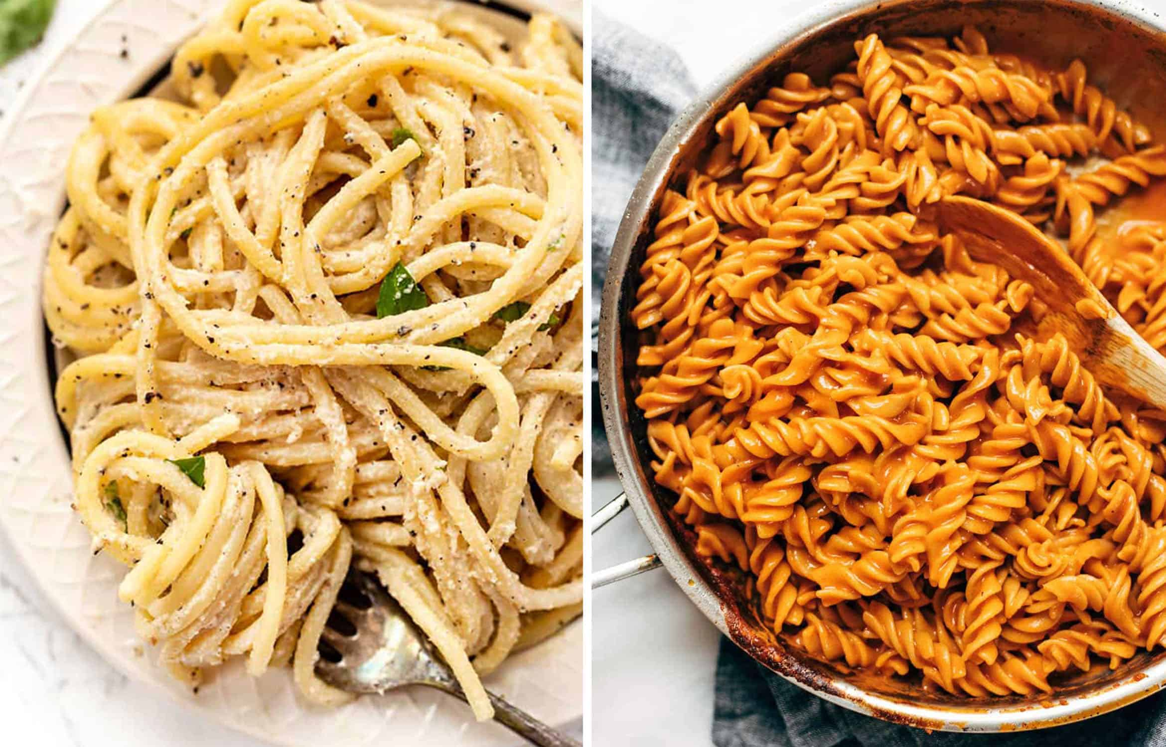 Spaghetti with cacio e pepe in a white bowl by Simply Quinoa and Fusilli and red vodka sauce in a skillet by Pinch of Yum
