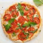 Delciious Italian caprese pizza.