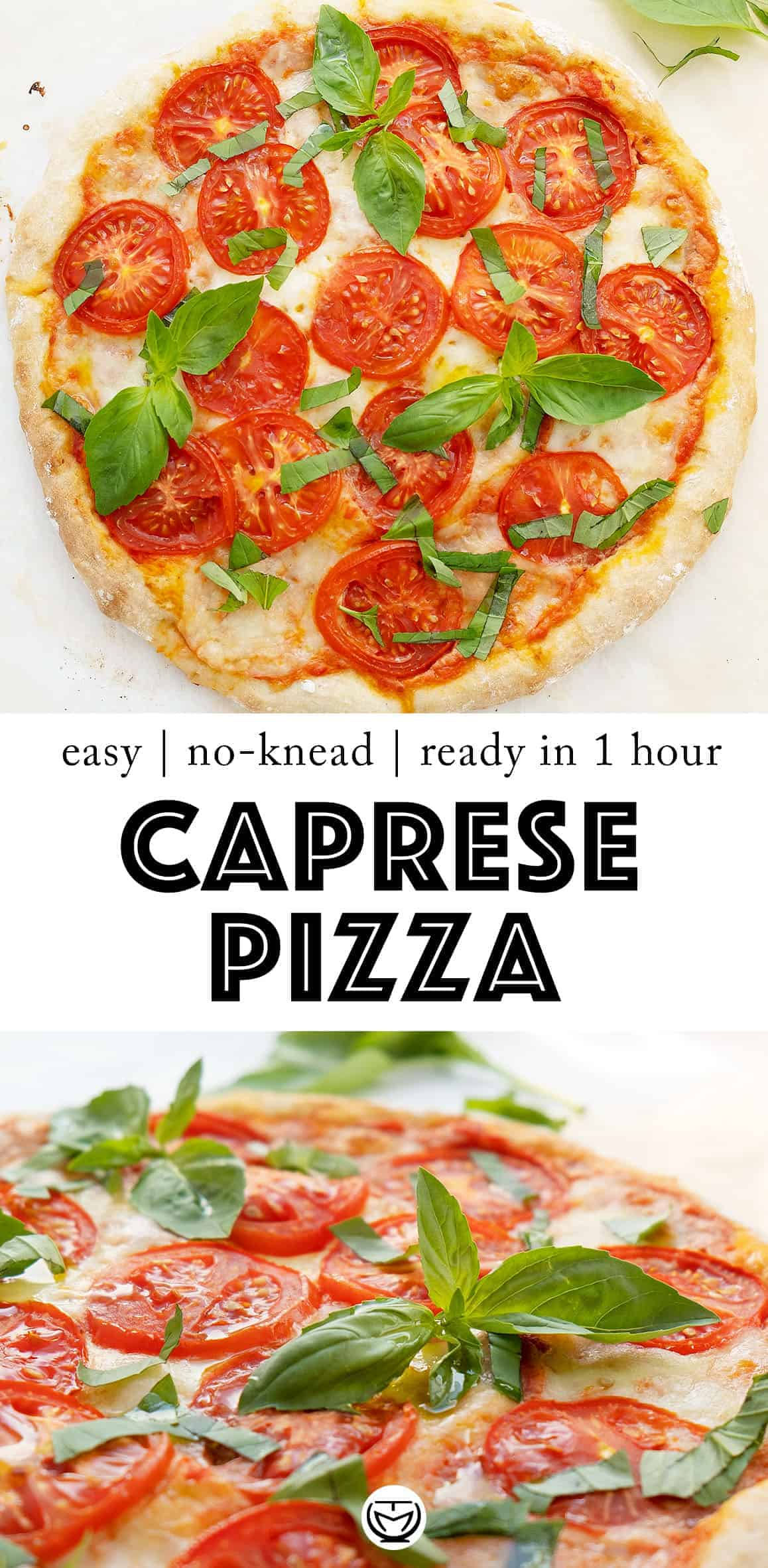 This delicious Italian caprese pizza is a dream for any pizza lover! It's ready in 1 hour and it's packed with fresh amazing flavors. #pizzarecipes