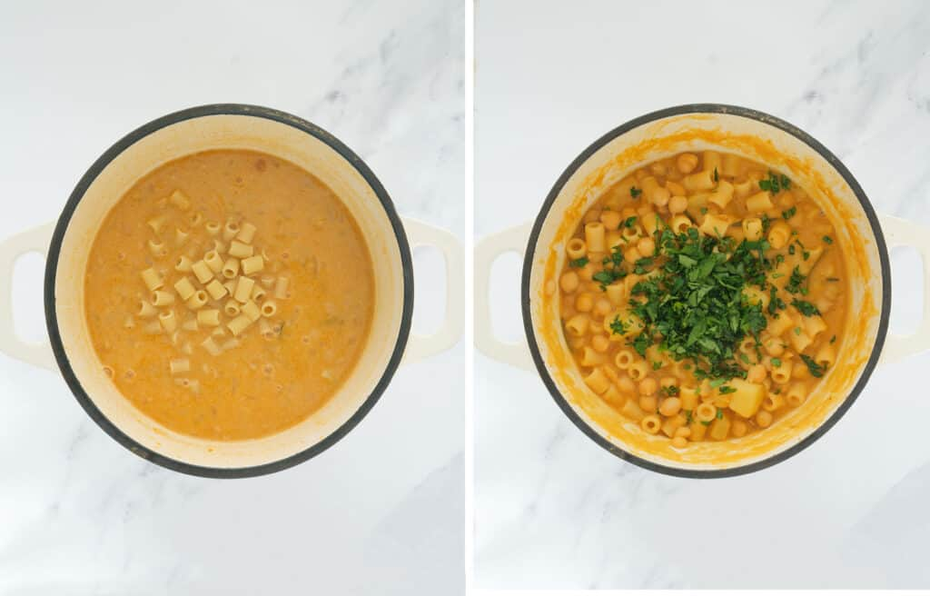 Top view of a Dutch oven full of thick chickpea soup, ditalini pasta and chopped parsley.