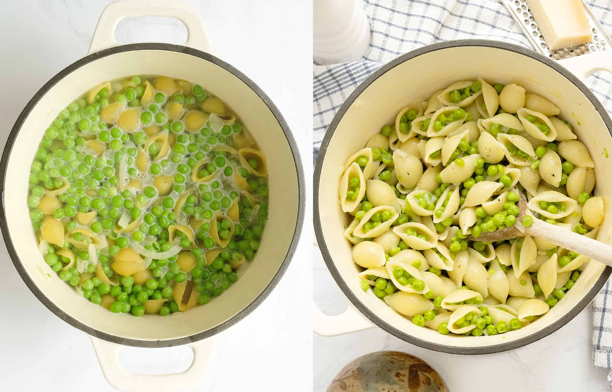 A white cast iron pot with pasta with peas during and after cooking.
