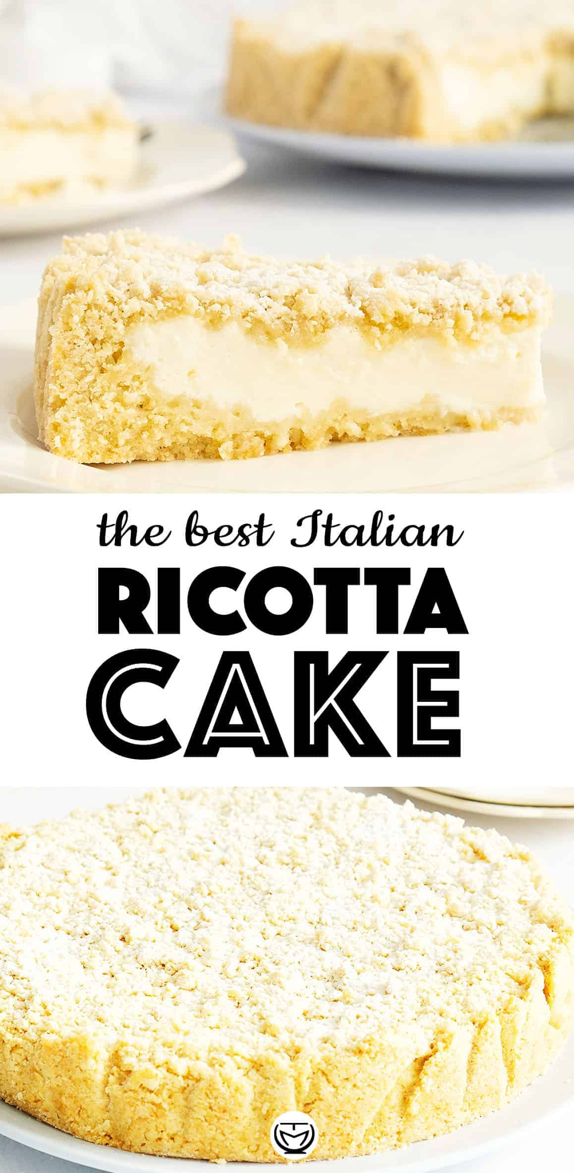 The crumbles and the delicious creamy ricotta filling with hints of lemon make this cake to die for! #cakerecipes #ricottarecipes