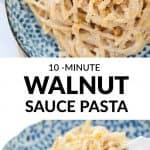Close-up of a blue bowl full of walnut sauce spaghetti.