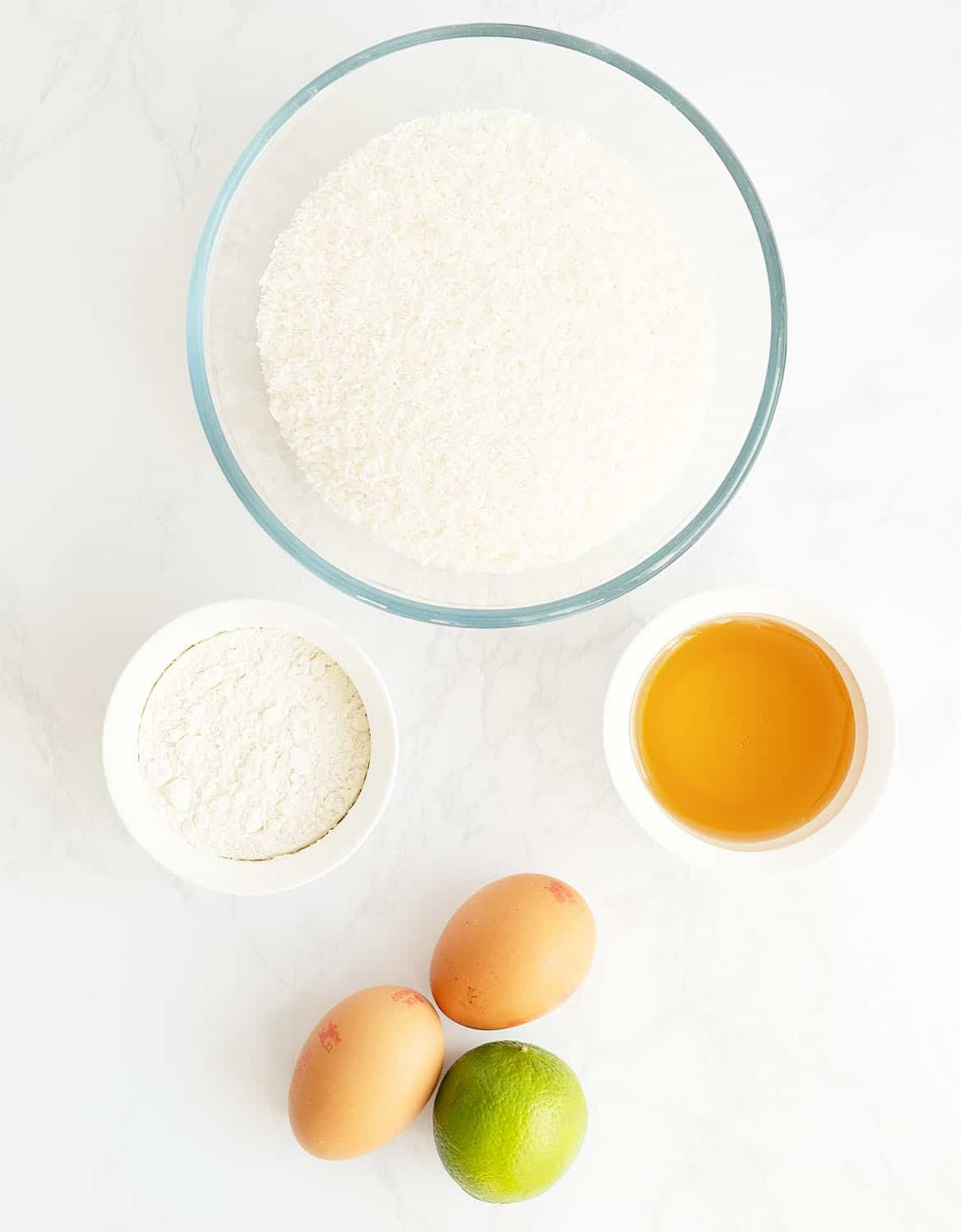 The ingredients to make these coconut cookies are arranged over a white background.