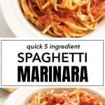 A white bowl full of spaghetti with Italian marinara sauce.