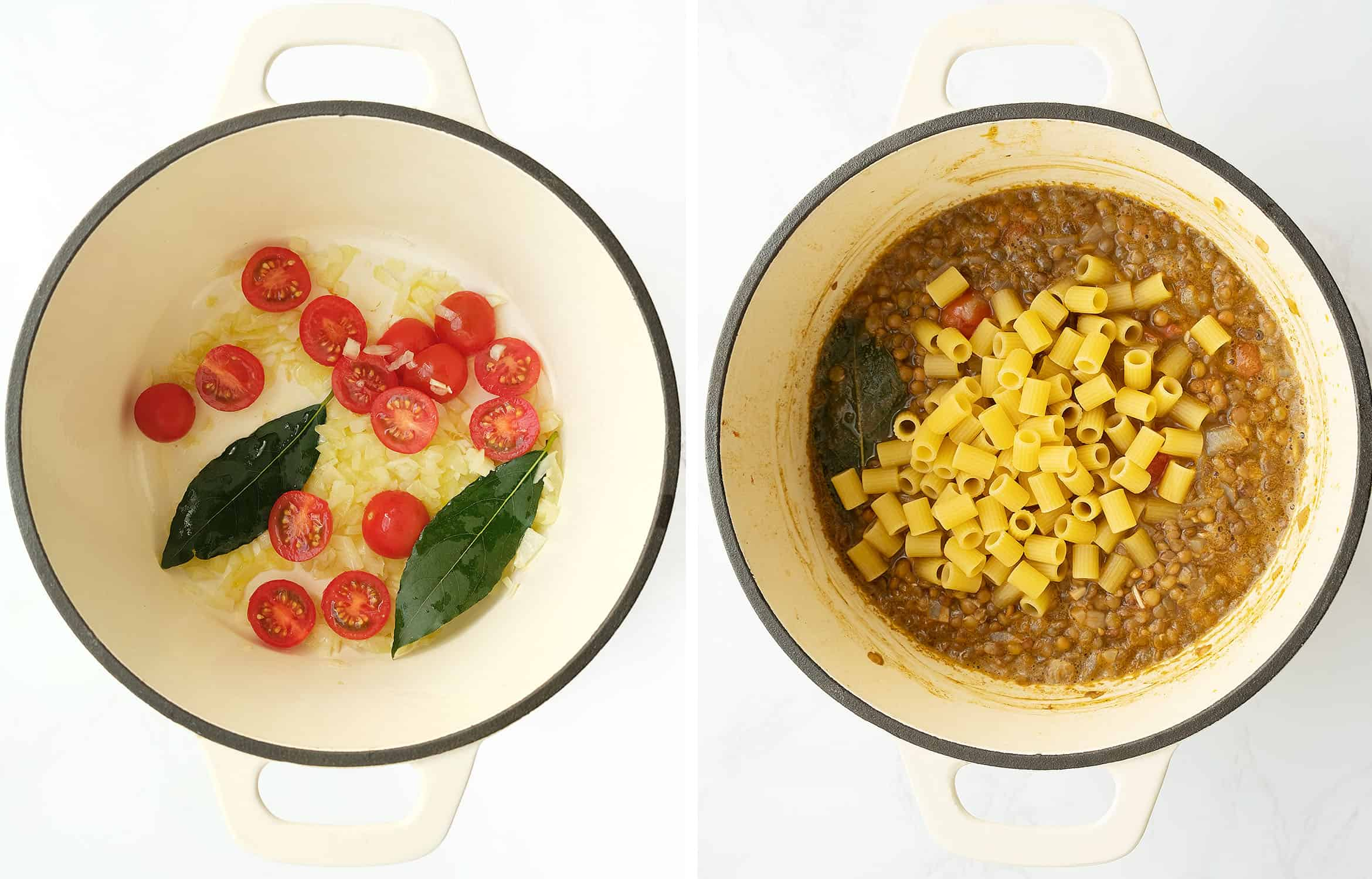 How to cook pasta with lentils: two pictures of a white pot shows two different steps.